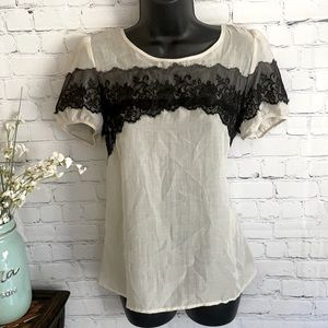 LOFT Sheer Short Sleeve Top With Lace Accent Shirt Top Blouse